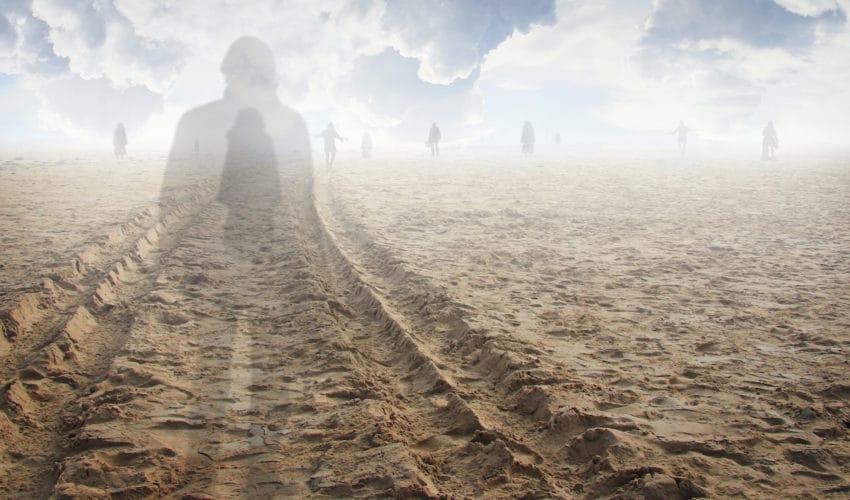 silhouette sur une plage de sable