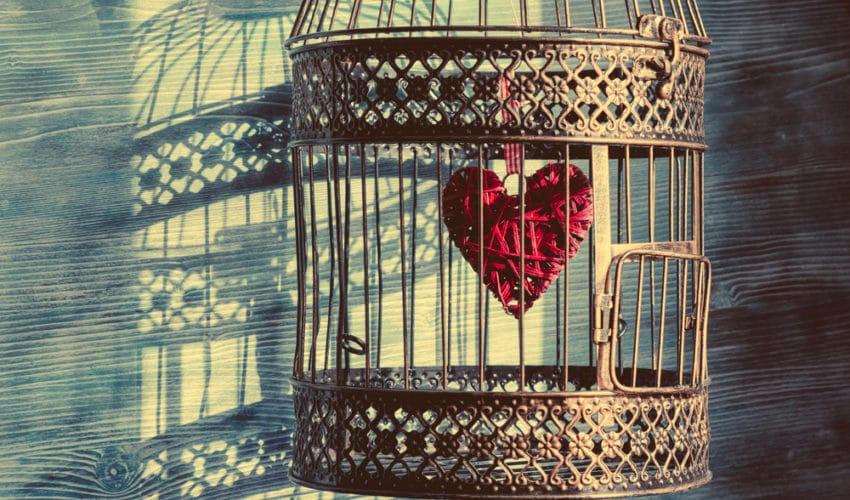 coeur enferme dans une cage