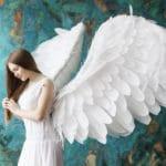 un ange ailé vu de profil