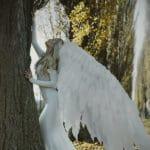 un ange ailé contre un arbre