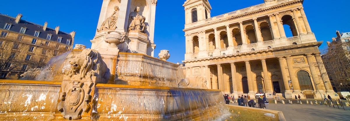 Eglise Saint sulpice à paris, vue depuis sa fontaine
