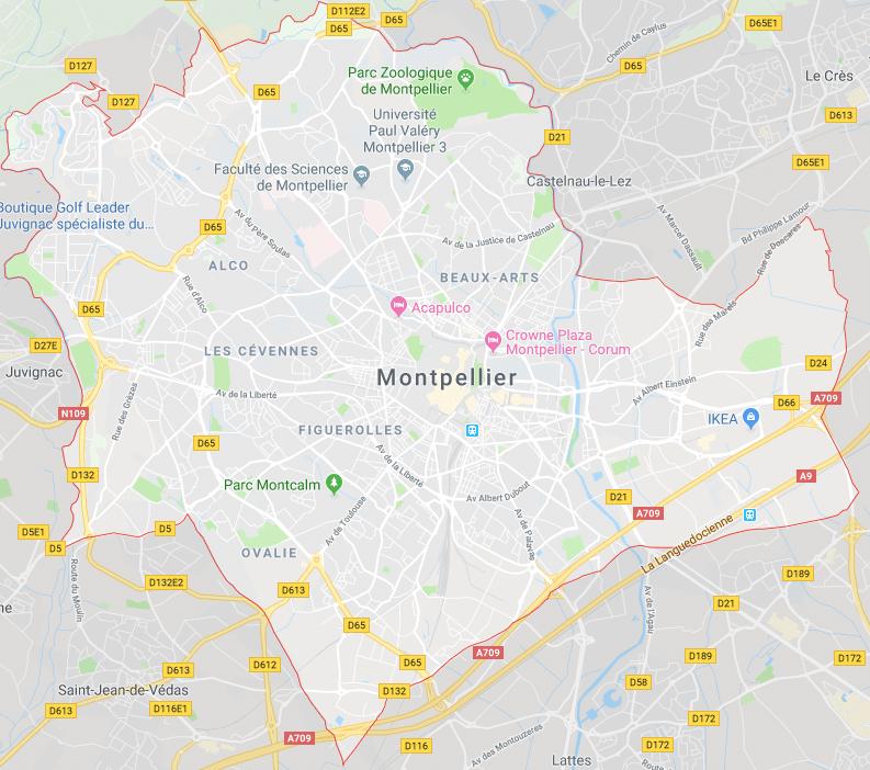 Carte de montpellier, google maps