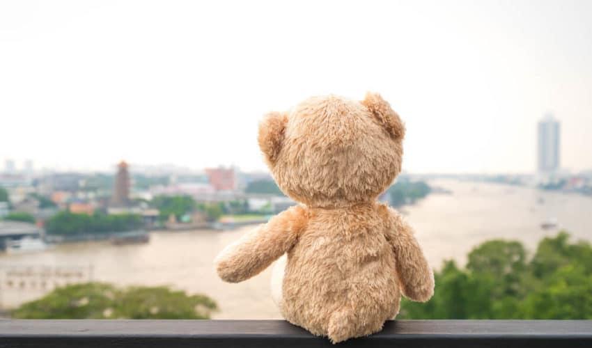 ours en peluche seul assis au bord la riviere