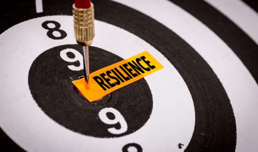 cible avec le mot resilience au centre