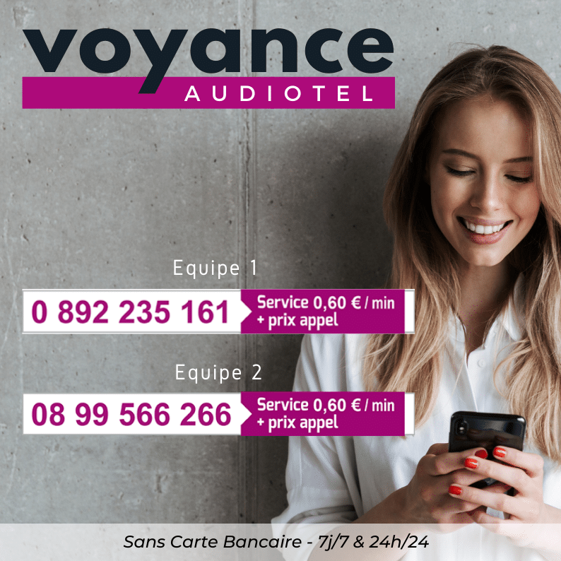 visuel avec 2 numéros de téléphone pour de la voyance audiotel